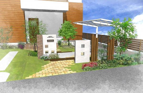 木とレンガのカントリー風の庭