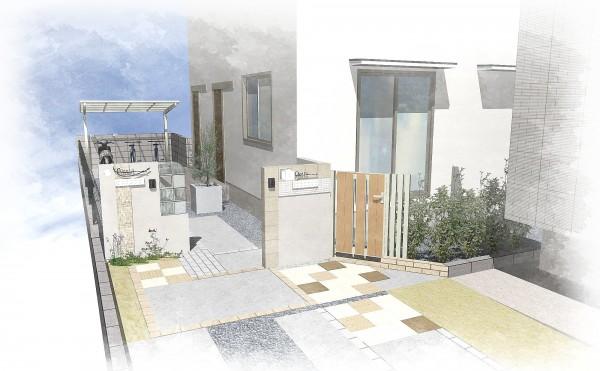 二世帯住宅の門壁