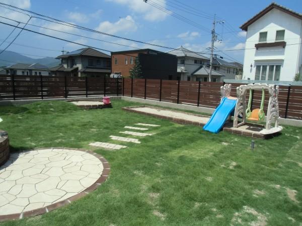 子供たちが走り回れるお庭