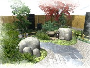 庭の片隅に和の空間