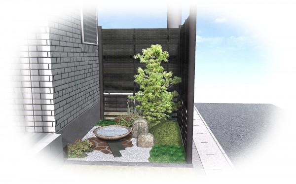楽しませてくれる玄関横の和の空間