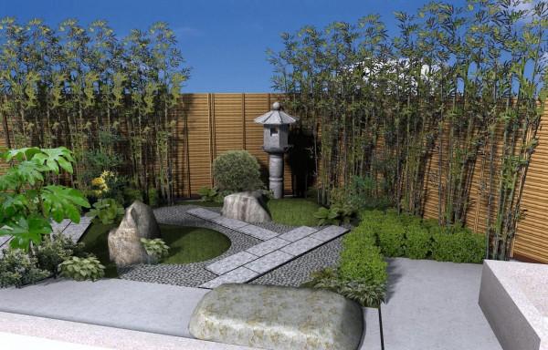 和風の坪庭、癒しの空間