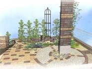 洋風に仕上げた眺める庭