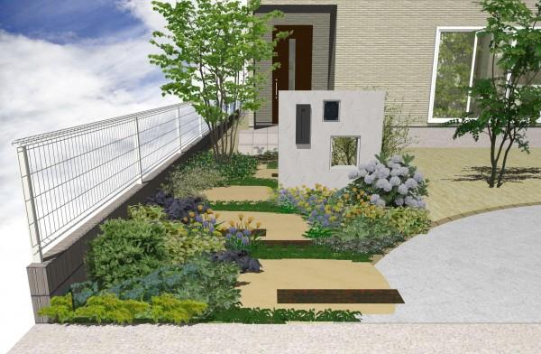 枕木と植栽の玄関アプローチ