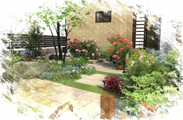 お庭いっぱいの草花